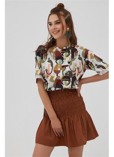 Pattaya Pattaya Kadın Yırtmaçlı Oversize Kısa Kollu Tişört P21S201-2121 Renkli